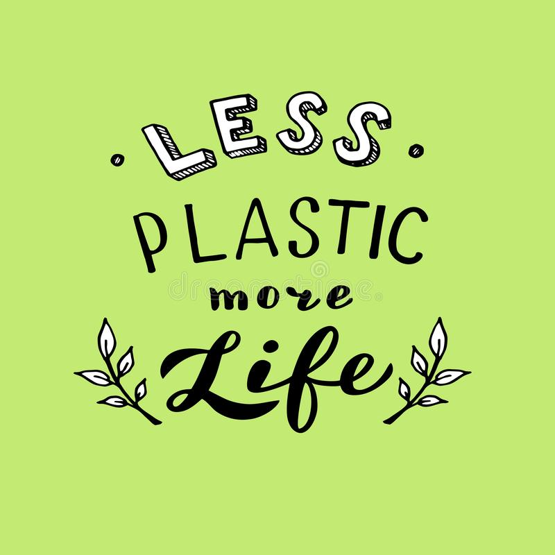 较不塑料更多生活字法 时髦eco海报 减少使用塑料概念 皇族释放例证