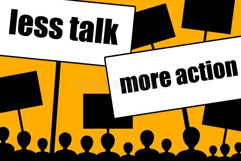 较少谈话更多行动 向量例证
