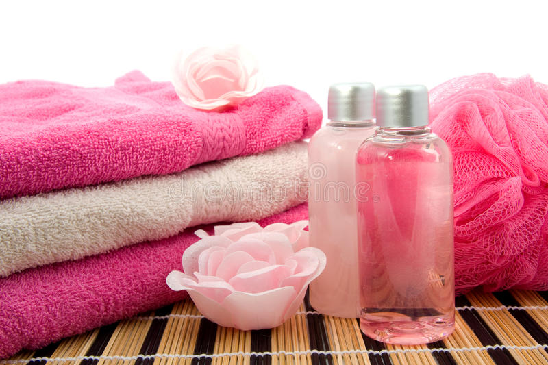 辅助卫生间粉红色温泉 库存照片