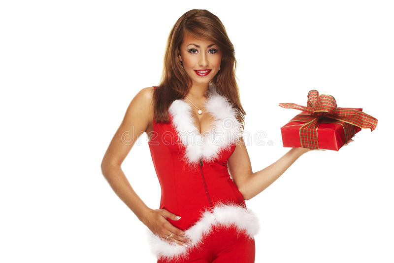 辅助工性感的圣诞老人 免版税图库摄影