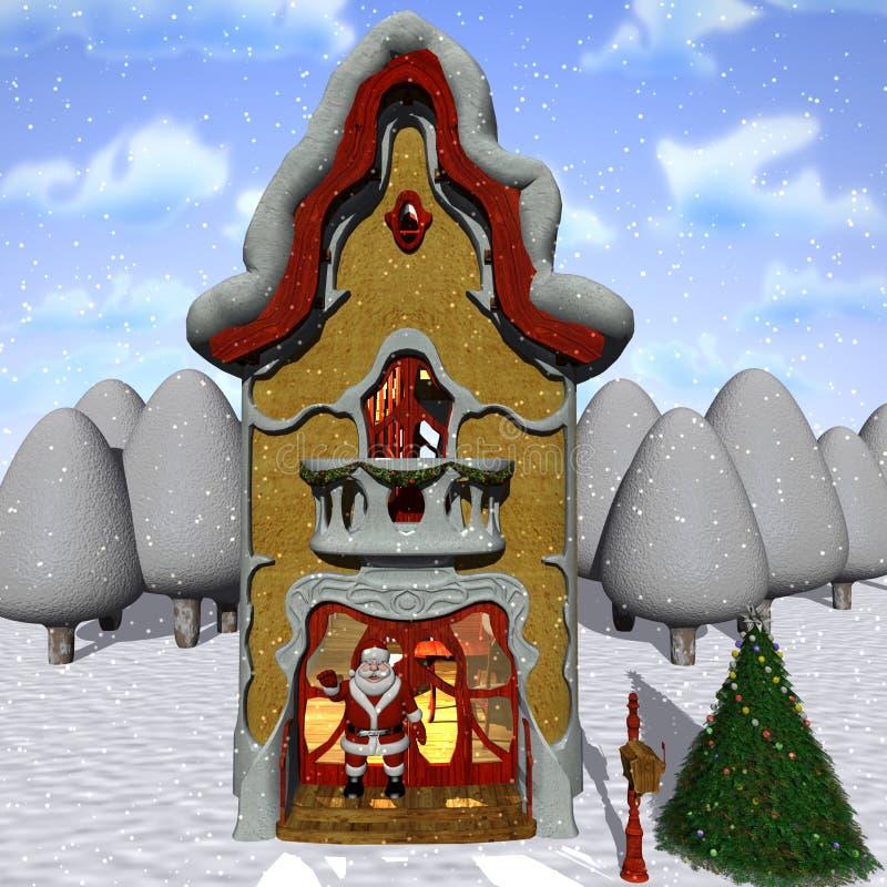 辅助工房子圣诞老人印度桃花心木 向量例证