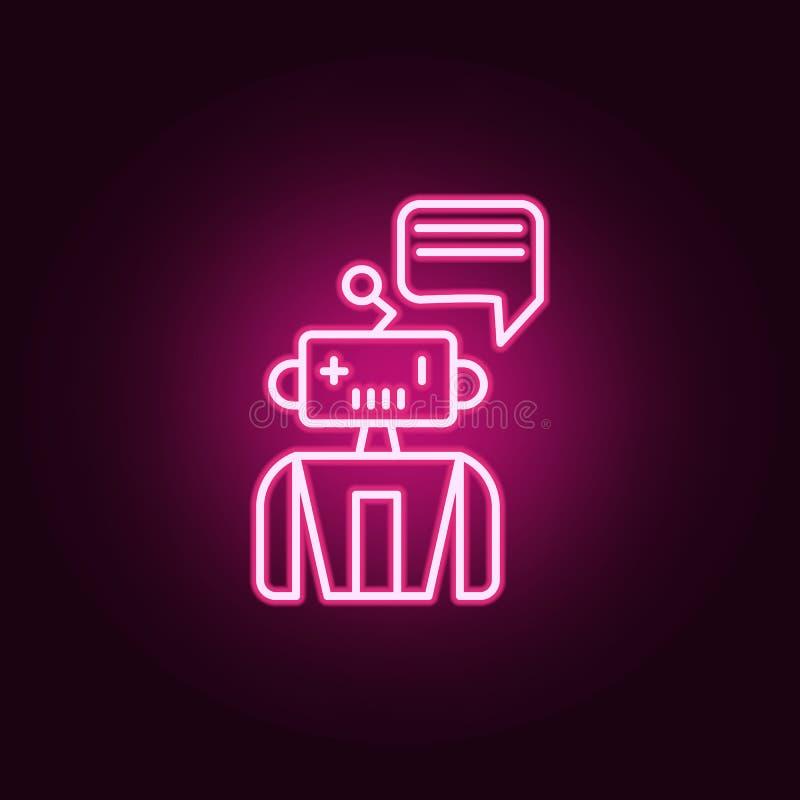 辅助机器人机器霓虹象 人工智能集合的元素 网站的简单的象,网络设计,流动应用程序,信息 皇族释放例证
