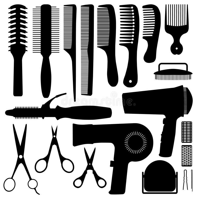 辅助部件头发剪影向量 库存例证