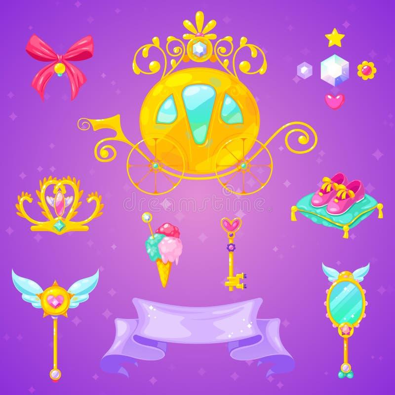 辅助部件袋子美丽的手套珠宝公主集合鞋子 库存图片