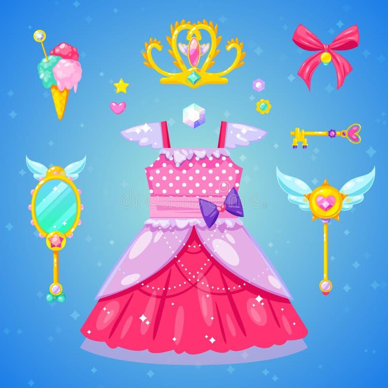 辅助部件袋子美丽的手套珠宝公主集合鞋子 免版税库存照片