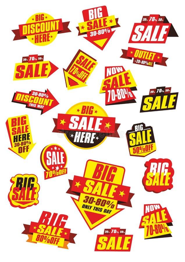 辅助部件方式销售额标签 向量例证