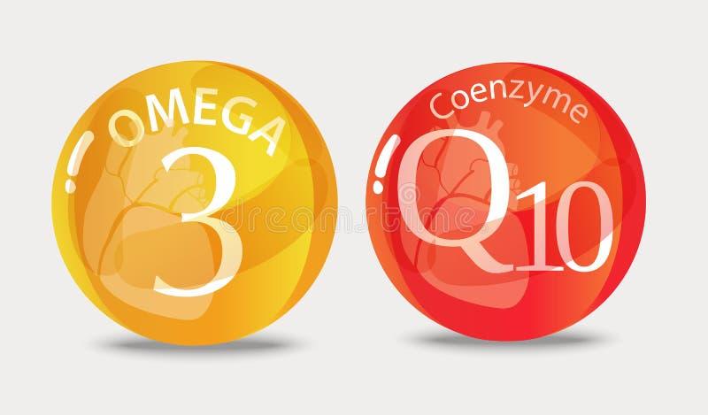 辅酵素q10和Ω 3 皇族释放例证