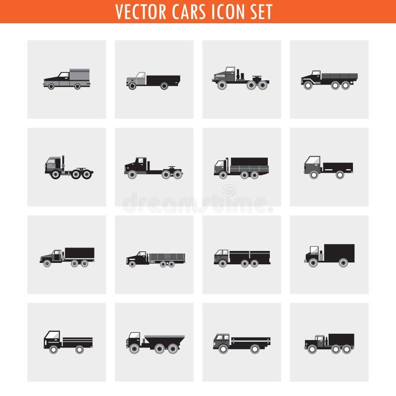16辆卡车汽车象集合 中立颜色,黑白minimalistic样式 皇族释放例证