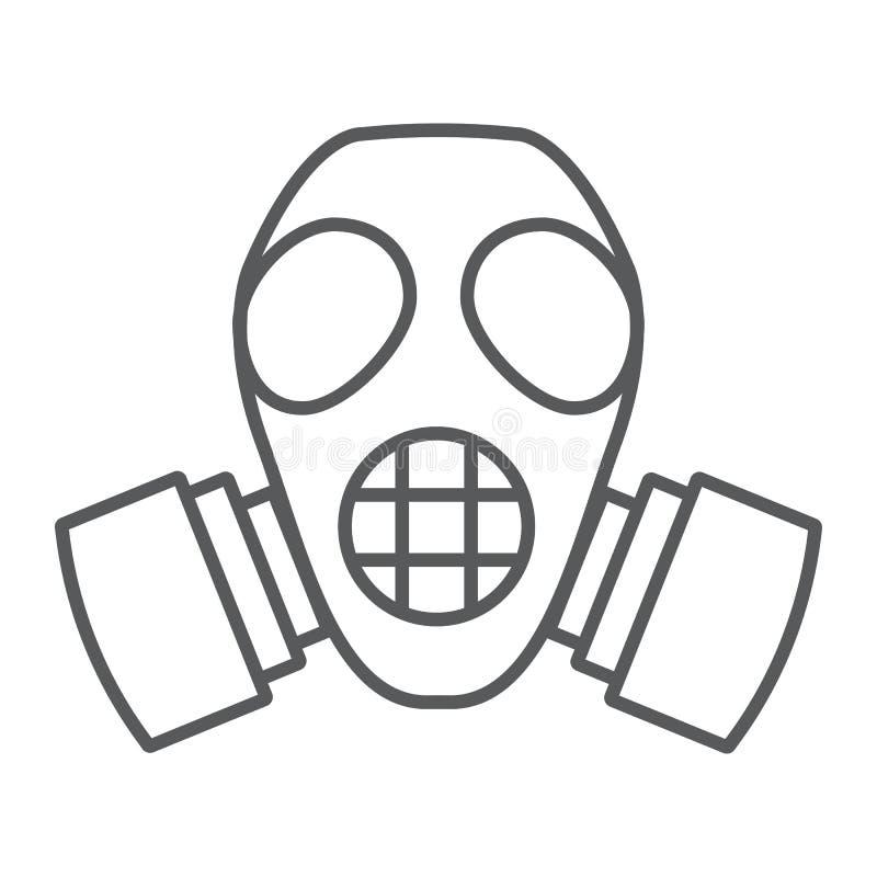 辐射面具稀薄的线象,防御和人工呼吸机,防毒面具标志,向量图形,在白色的一个线性样式 皇族释放例证
