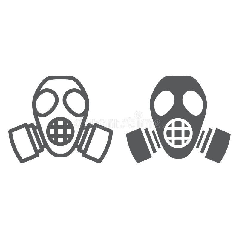 辐射面具线和纵的沟纹象、防御和人工呼吸机,防毒面具标志,向量图形,在白色的一个线性样式 皇族释放例证