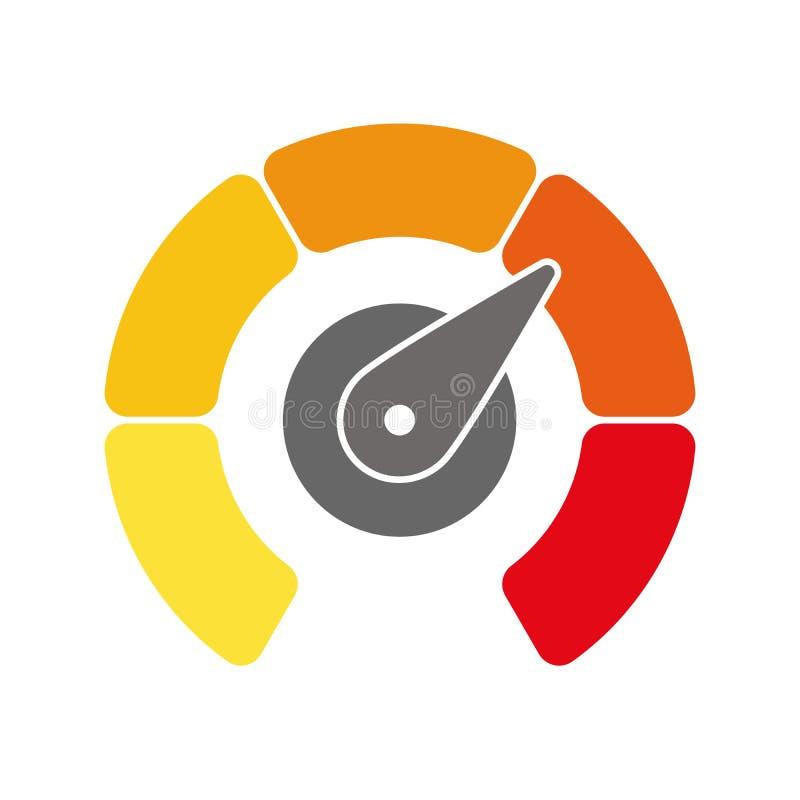 辐形测量仪标度从黄色到与箭头手尖的红色 满意,温度,风险,规定值,表现和 皇族释放例证