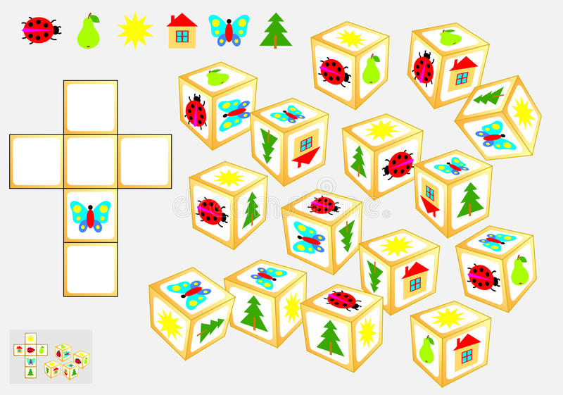逻辑难题 发现四相同立方体 得出他们的样式 向量例证