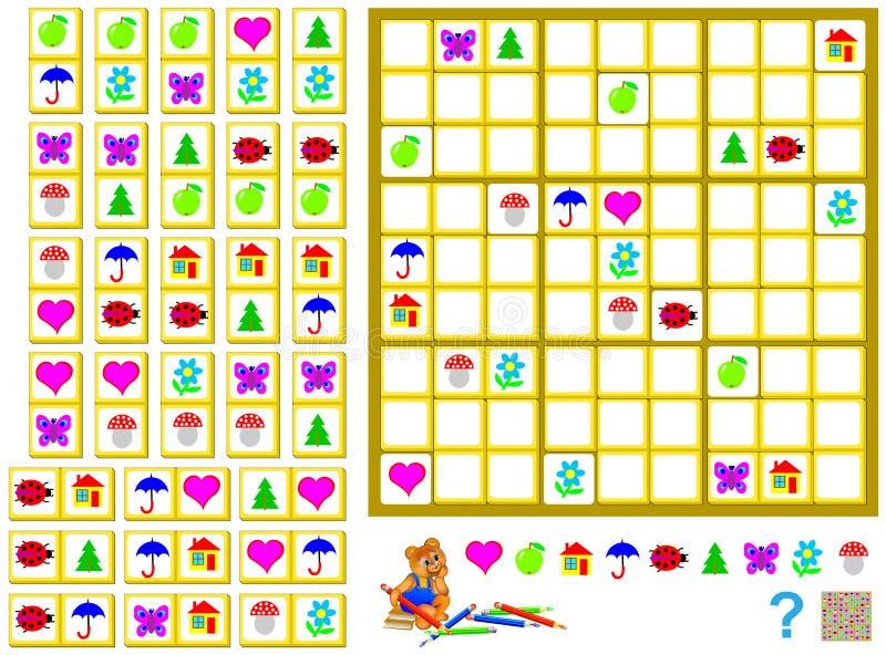 逻辑Sudoku比赛-需要完成难题使用剩余的多米诺和在正确地方画他们 皇族释放例证