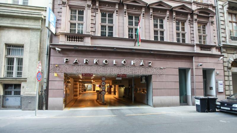 输入到停车场在布达佩斯 库存图片