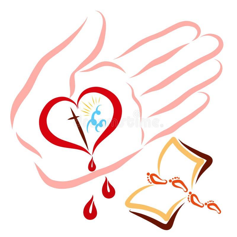 输入的天堂通过基督爱和牺牲,向基督的道路通过圣经 向量例证