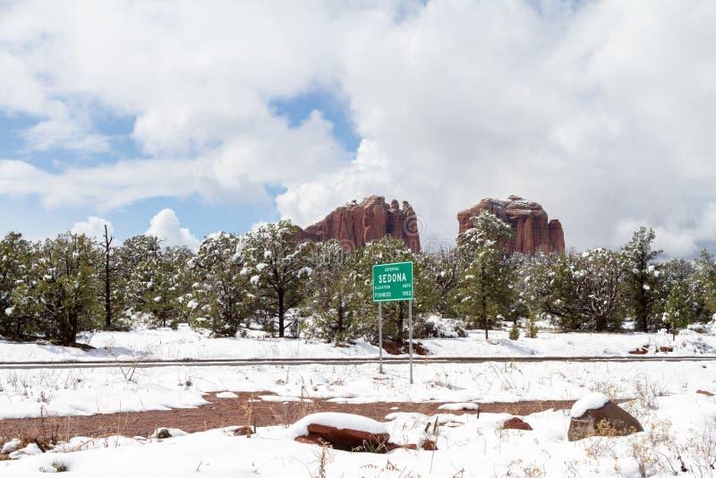 输入的Sedona亚利桑那在冬天 库存图片