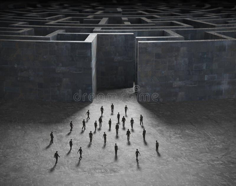 输入迷宫的微小的人员 向量例证