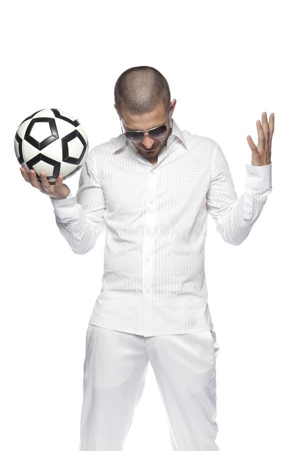 输掉比赛,人,隔绝在白色背景 免版税库存照片
