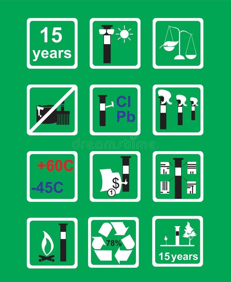 输油管的象测量设备在绿色背景 库存例证