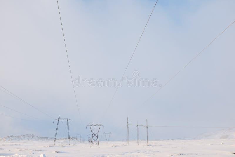 输电线在冬天 库存照片