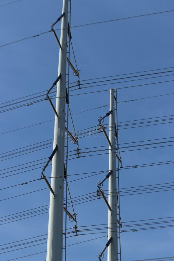 输电线塔的新型在荷兰命名了wintrack在380 KV轨道在Bleiswijk 免版税库存图片