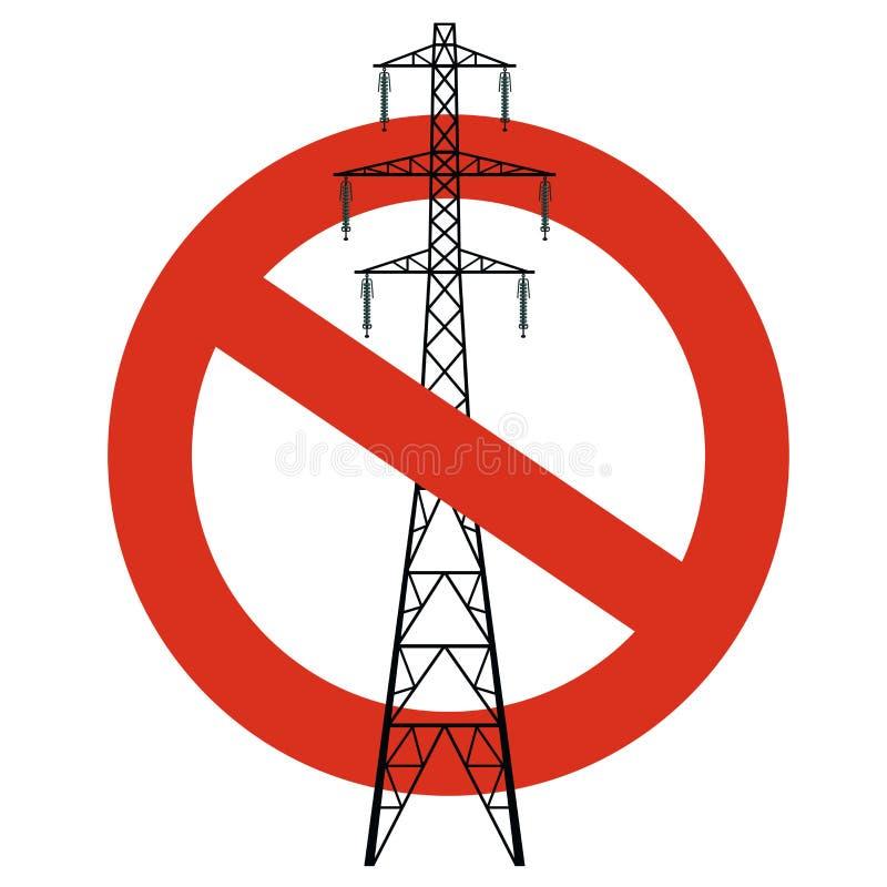 输电线的禁止 对电定向塔的建筑的严密的禁令 停止电小心 库存例证
