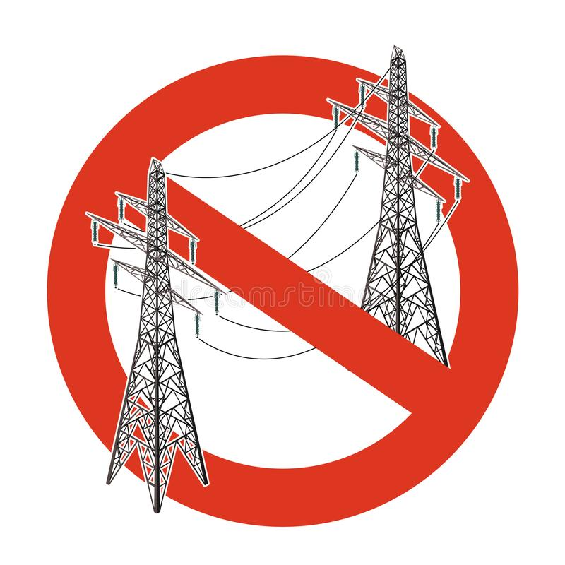 输电线的禁止 对电定向塔的建筑的严密的禁令 停止电小心 向量例证