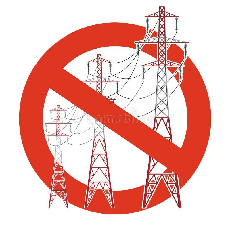 输电线的禁止 对电定向塔的建筑的严密的禁令 停止电小心 皇族释放例证
