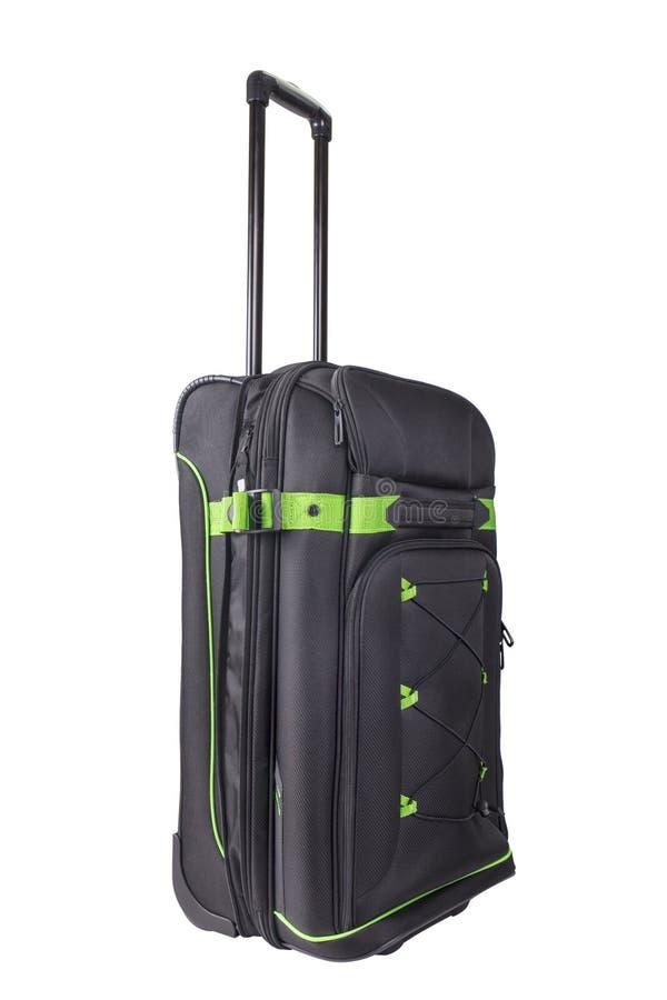 辗压手提箱,在白色隔绝的行李 免版税库存图片