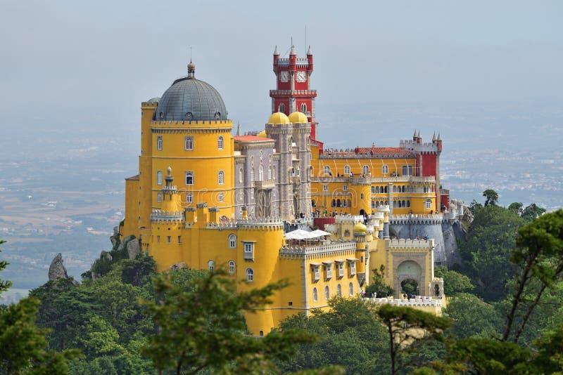 辛特拉,贝纳国民宫殿的葡萄牙 免版税库存照片