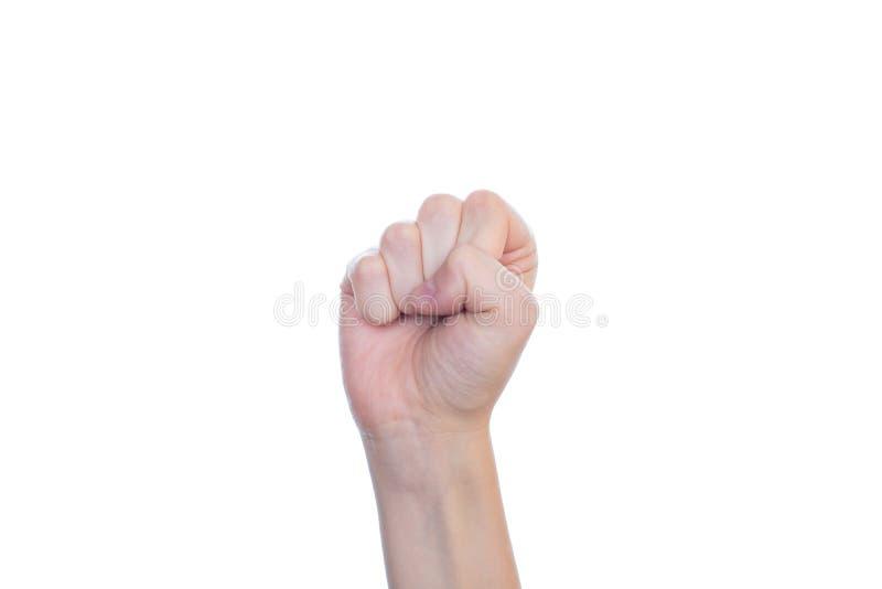 辛苦工作冲突数字起动读秒概念 妇女的手接近的照片做给紧握拳头被隔绝的白色backgr 库存图片