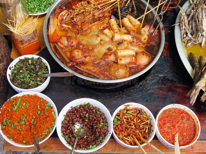 辣中国街道食物 免版税图库摄影