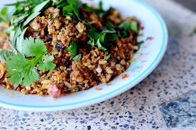 辣剁碎的猪肉泰国食物 库存图片
