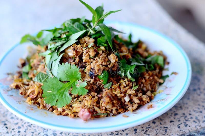 辣剁碎的猪肉泰国食物 图库摄影