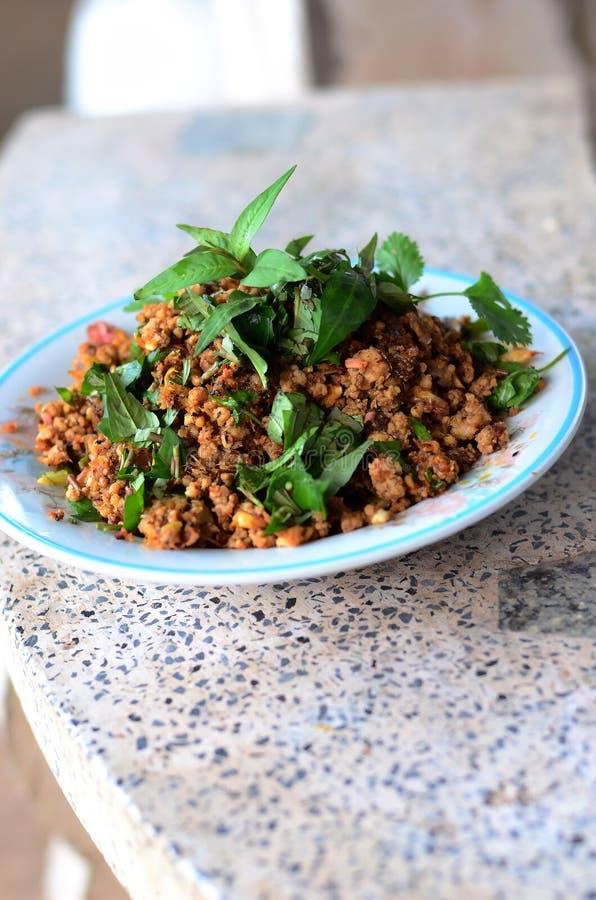 辣剁碎的猪肉泰国食物 免版税库存图片