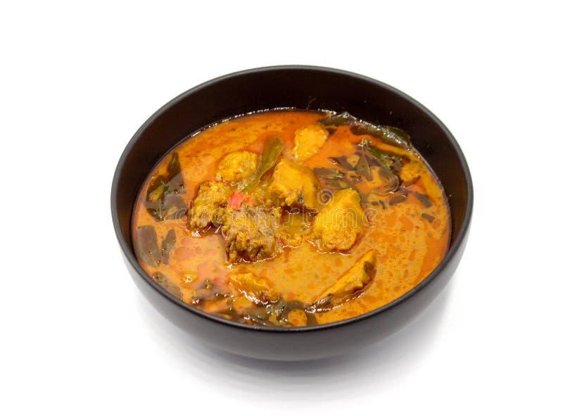 辣南瓜和红色咖喱汤泰国食物 库存图片