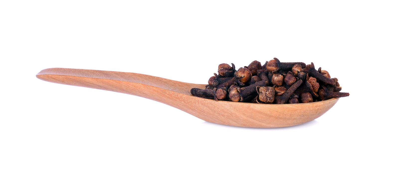 辣干丁香,朔望性aromaticum在木spo的花蕾 免版税库存照片