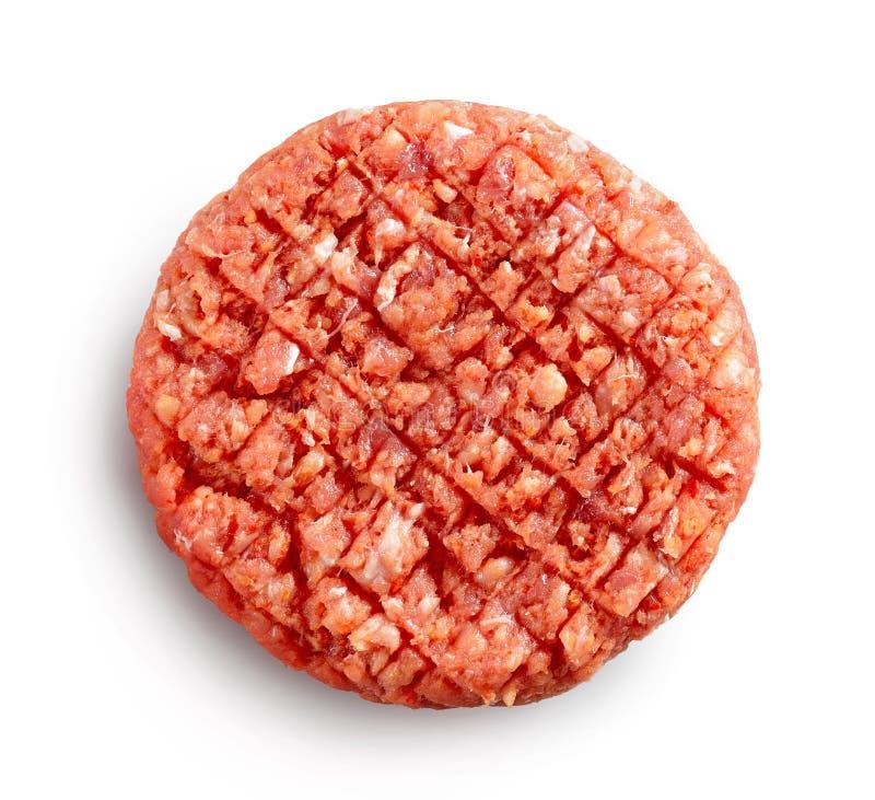 辣未加工的汉堡肉 库存图片