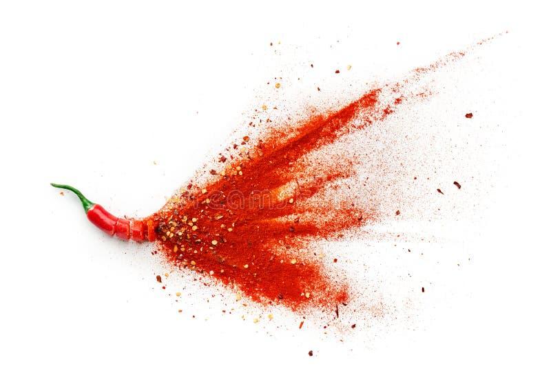 辣椒、红辣椒片和辣椒粉 库存图片