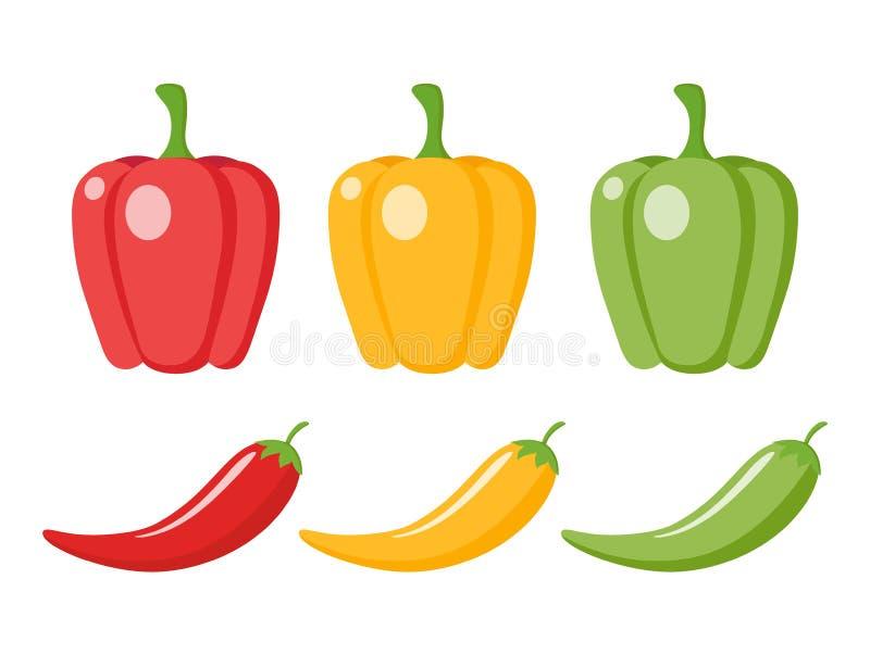 辣椒和甜椒动画片clipart 库存例证