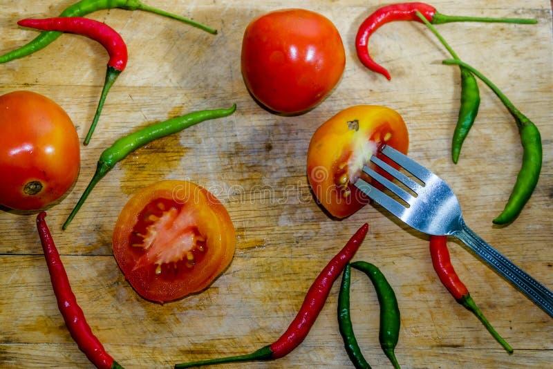 辣椒和蕃茄 免版税库存照片