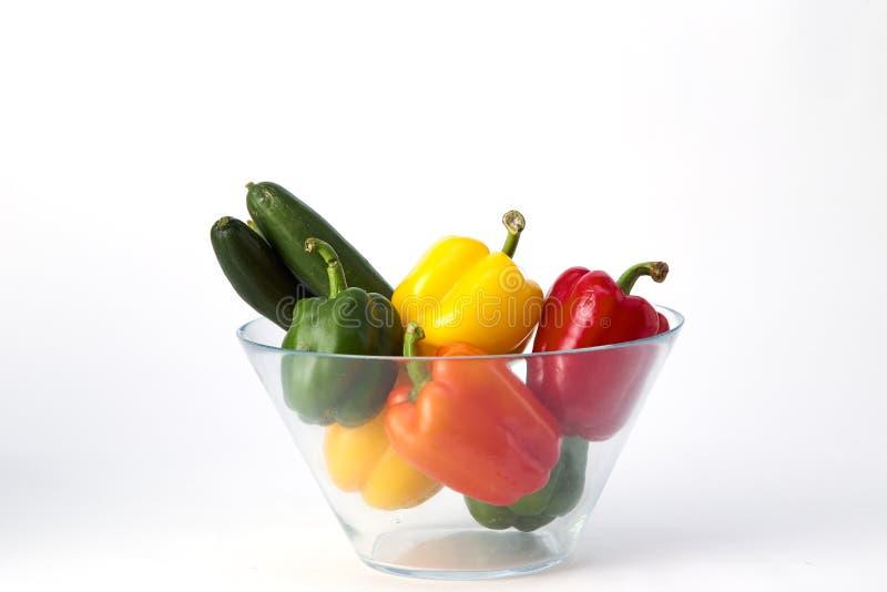 辣椒粉在玻璃碗的甜椒 免版税库存照片