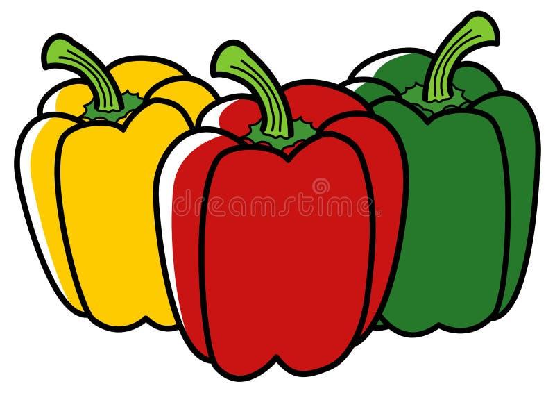 辣椒粉的图表例证在三种不同颜色的 库存例证