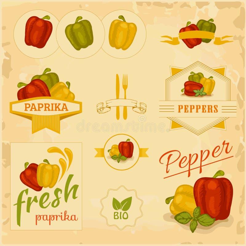 辣椒粉,胡椒, 向量例证