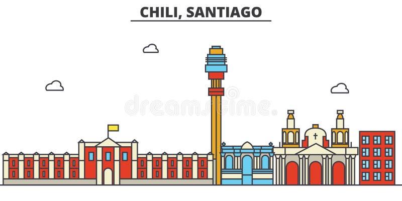 辣椒,圣地亚哥 城市编辑可能地平线的建筑学 库存例证
