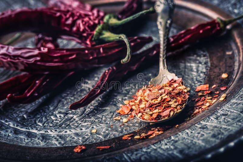 辣椒 辣椒 几干辣椒和被击碎的胡椒在一把老匙子溢出了  墨西哥的成份 免版税库存图片
