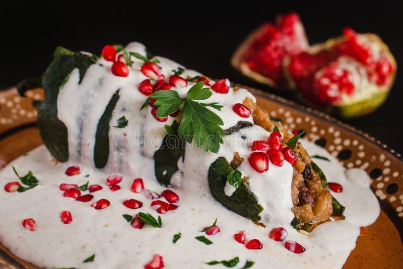 辣椒en Nogada传统墨西哥烹调在普埃布拉墨西哥 免版税库存图片