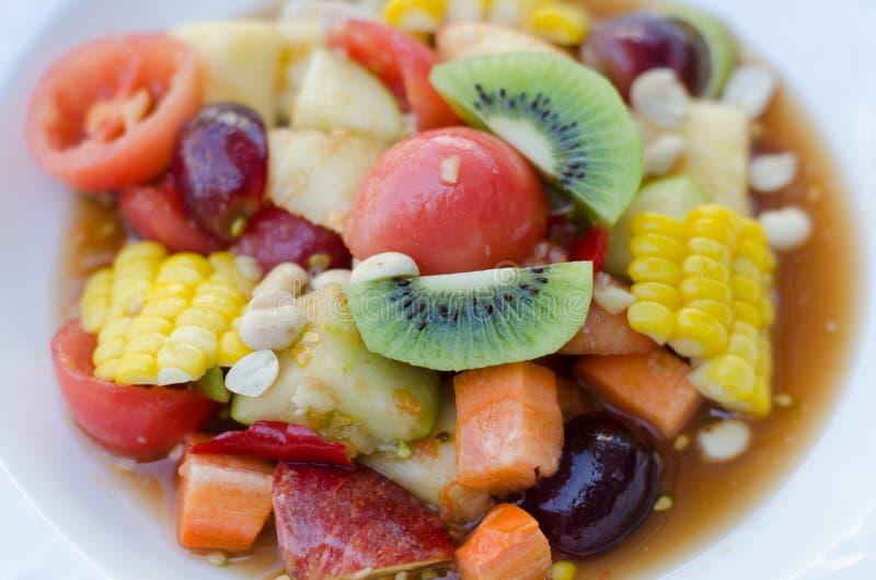 辣泰国混杂的水果沙拉 图库摄影