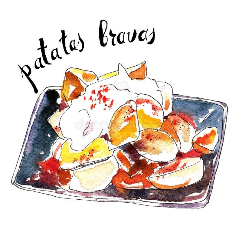 辣的土豆 传统西班牙塔帕纤维布盘叫patatas bravas 被隔绝的手拉的墨水和水彩例证 皇族释放例证