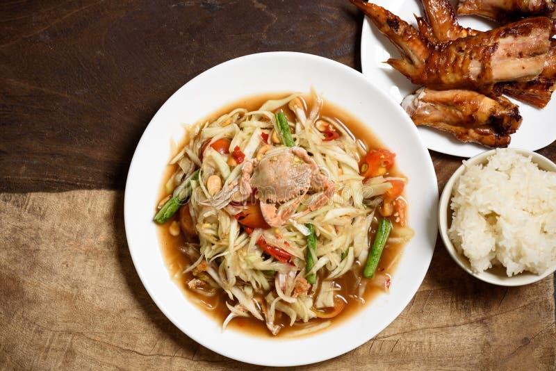 辣绿色番木瓜沙拉,泰国食物索马里兰胃 免版税库存照片